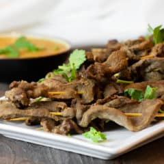 These grilled Thai beef satay skewers are the perfect Thai appetizer and great served with peanut sauce.