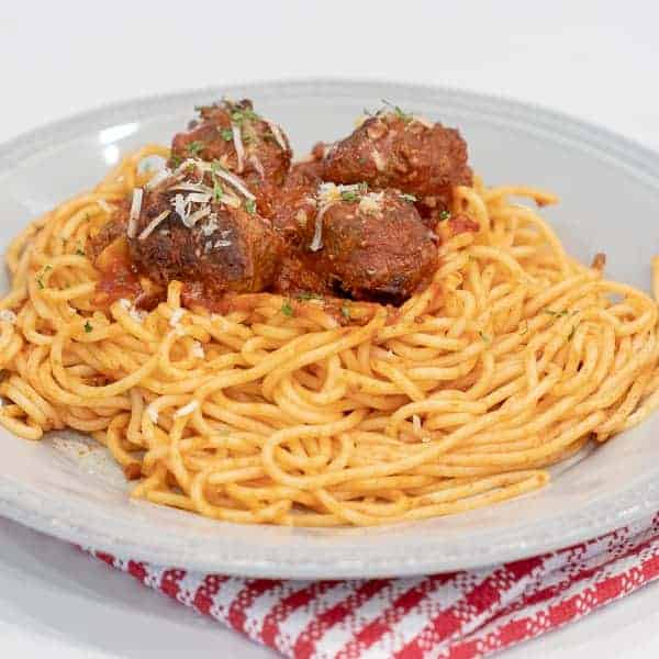 Classic Hearty Italian Meat Sauce with Baked Beef Meatballs - Homemade Spaghetti Recipe