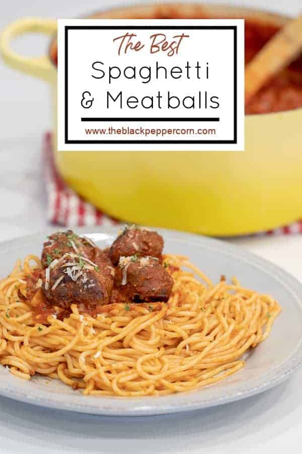 Spaghetti and Meatballs - Easy recipe for how to make classic spaghetti and meatballs. Oven baked meatballs with a bright marinara sauce.