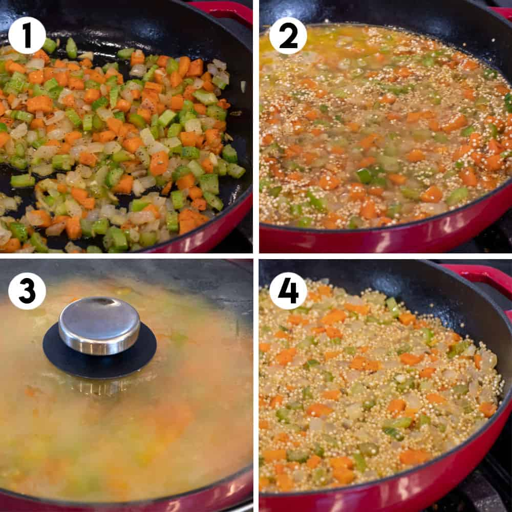 Step by step photos for how to make stuffing