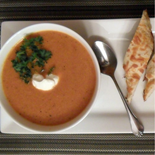 Garnish the soup with fresh parsley and sour cream. The cheese sticks ...
