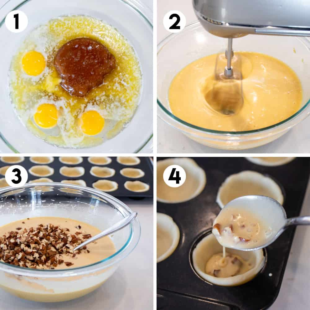 Step by step photos for how to make butter tart filling.