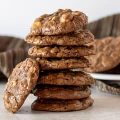 A tall stack of chewy and fudge cookies.