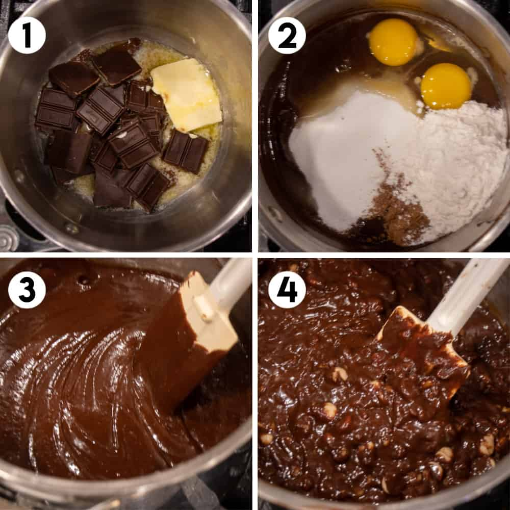 Step by step photo of making the fudge batter.