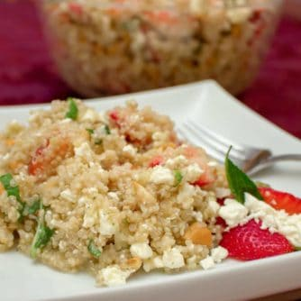This salad recipe is light and fresh with the strawberries and mint but earthy with the quinoa. The feta provides a salty rich flavour and the cashews give a nutty texture.