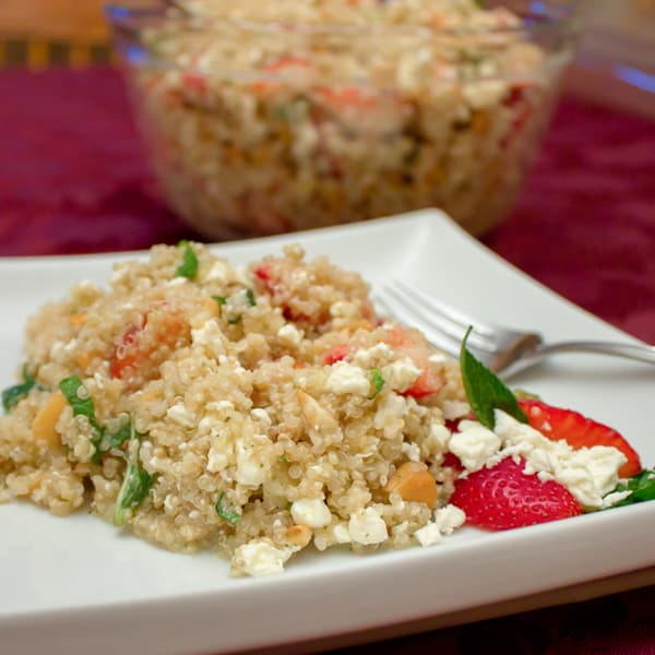 This salad is light and fresh with the strawberries and mint but earthy with the quinoa. The feta provides a salty rich flavour and the cashews give a nutty texture.