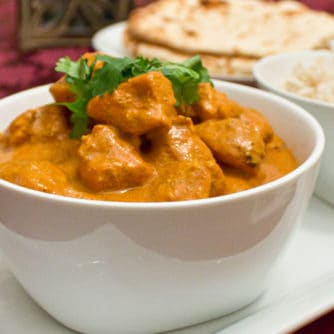 A classic mild Indian curry! Chicken marinated in yogurt and spices then grilled on the BBQ tandoori style. Served in a tikka sauce of tomato, cream and spices.