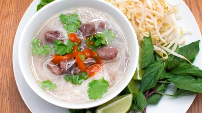 A flavourful soup that is classic in Vietnamese cuisine. The broth is made with a beef bone and some asian spices.