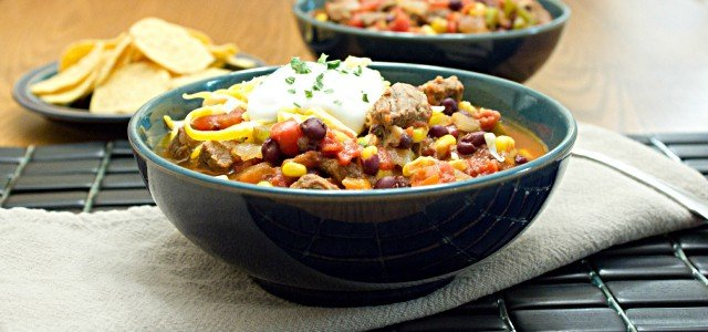 Texas Chili with Steak, Corn and Black Beans