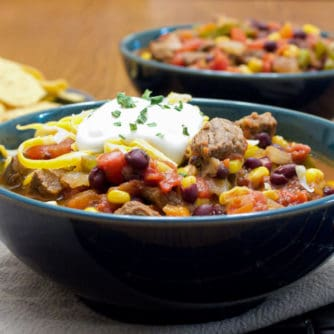 Hearty chili recipe with cubes of steak, black beans and corn. This is serious chili made for people who need a serious meal!