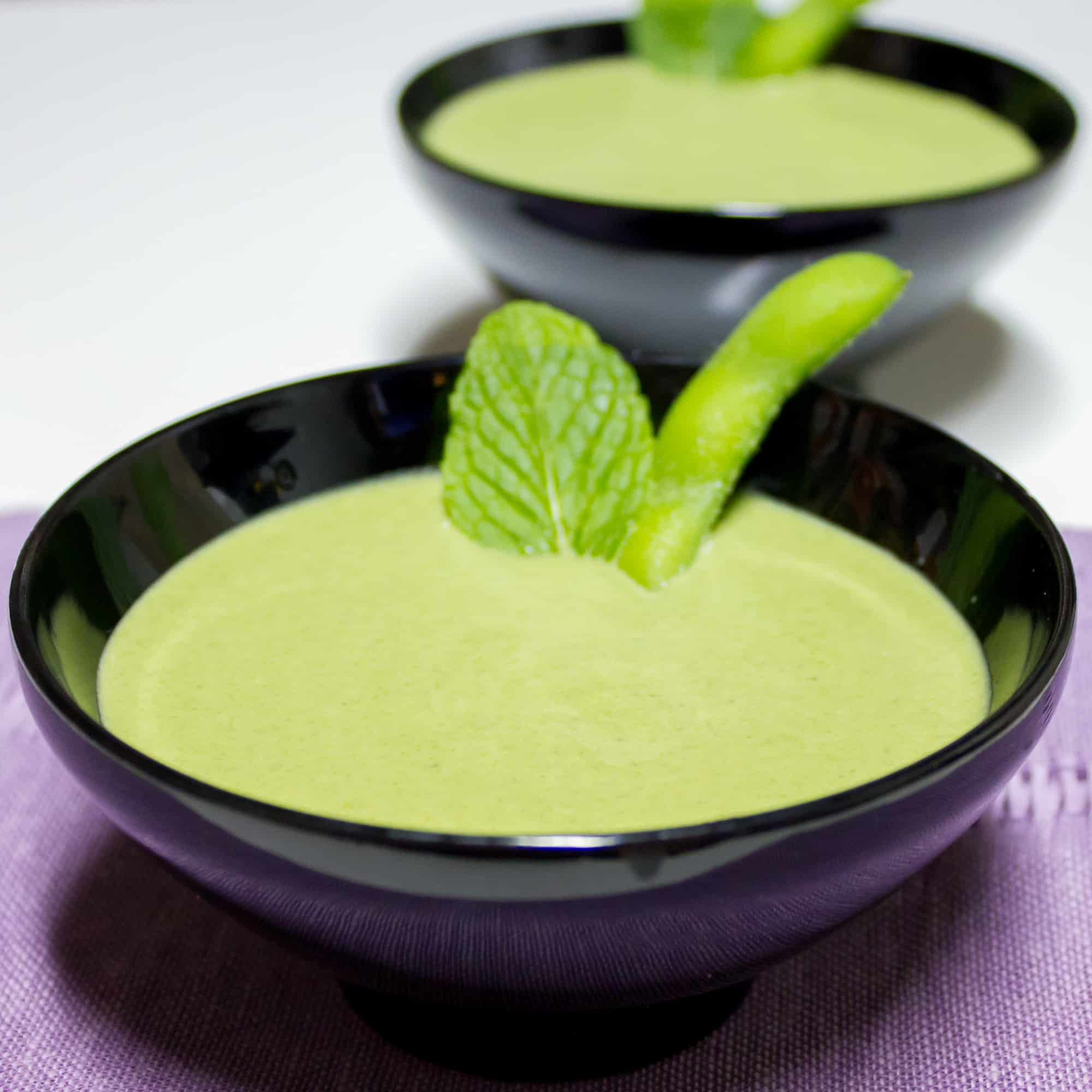 A smooth and creamy soup made with edamame and spinach. A silky texture and a hint of mint this soup is healthy and packed with protein and nutrients.