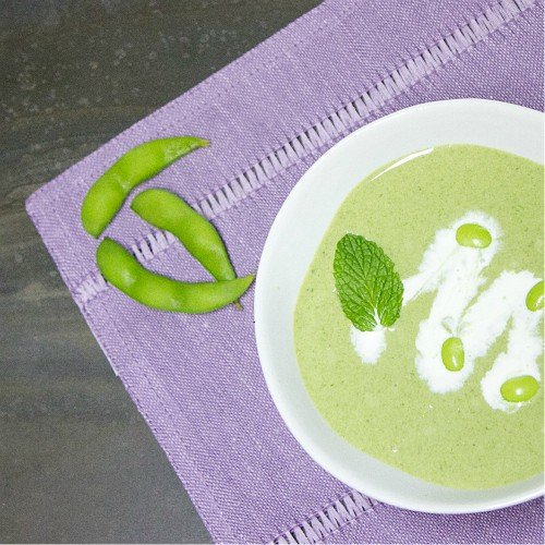Edamame and Spinach Cream Soup with a Hint of Mint