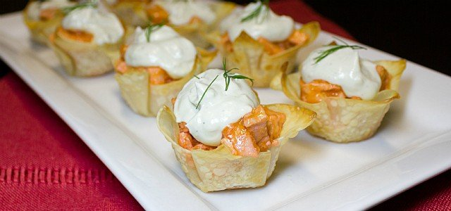 Buffalo Chicken Wonton Cups with a Blue Cheese Mousse