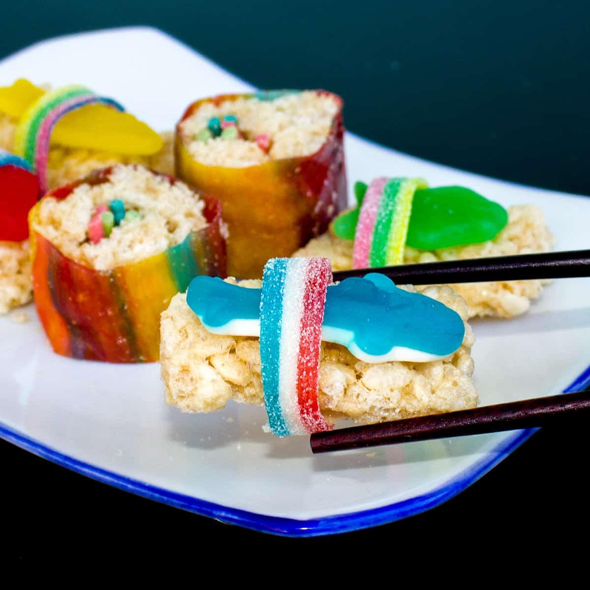 Candy sushi of nigiri and sashimi