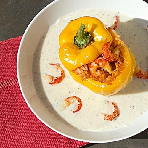Crawfish Jambalaya Stuffed Sweet Peppers with Country Gravy2