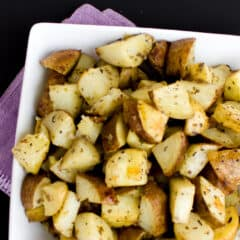 Overhead picture of roasted hash brown potatoes.