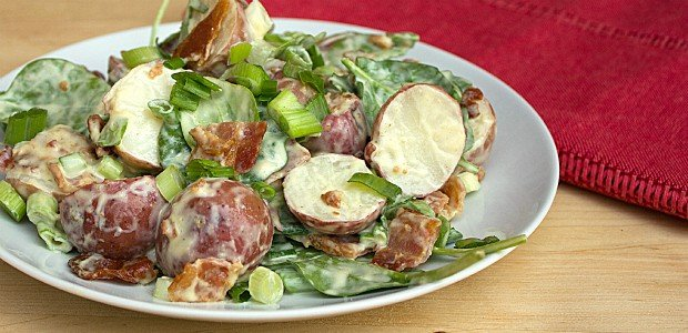 Red Potato Bacon and Spinach Salad