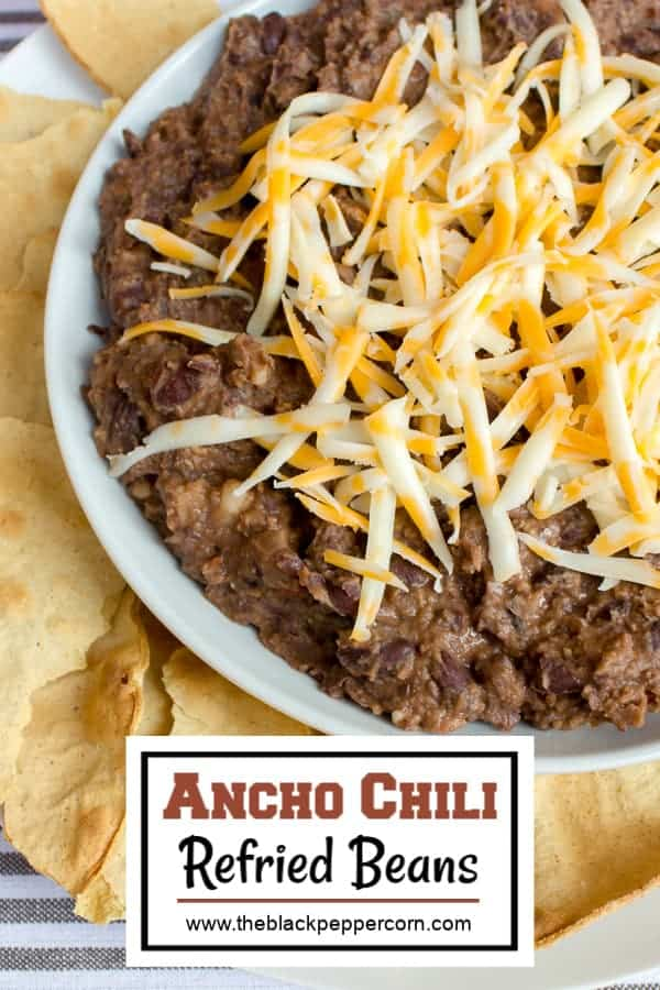 Refried beans made with black beans and ancho chilies. Great with nacho chips and cheddar cheese. Can also be made with pinto beans or red kidney beans.
