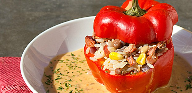 Fiesta Stuffed Peppers with Chipotle Gravy