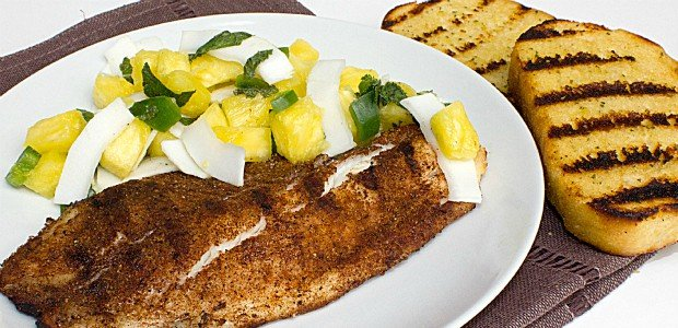 Grilled Tilapia with Pineapple Coconut Salsa