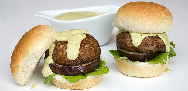 Portobello and Indian Eggplant Sliders with Spicy Avocado Ranch Dressing