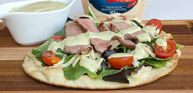 Southwest Steak Naan Pizza with Spicy Avocado Ranch Dressing