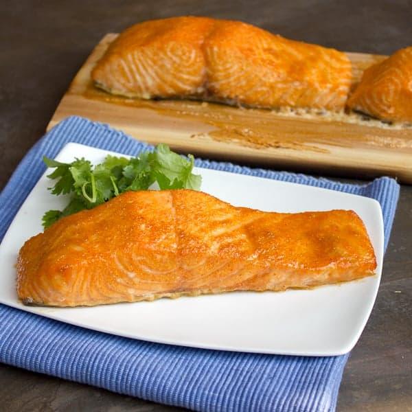 Cedar Plank Grilled Salmon with Spicy Brown Sugar Rub