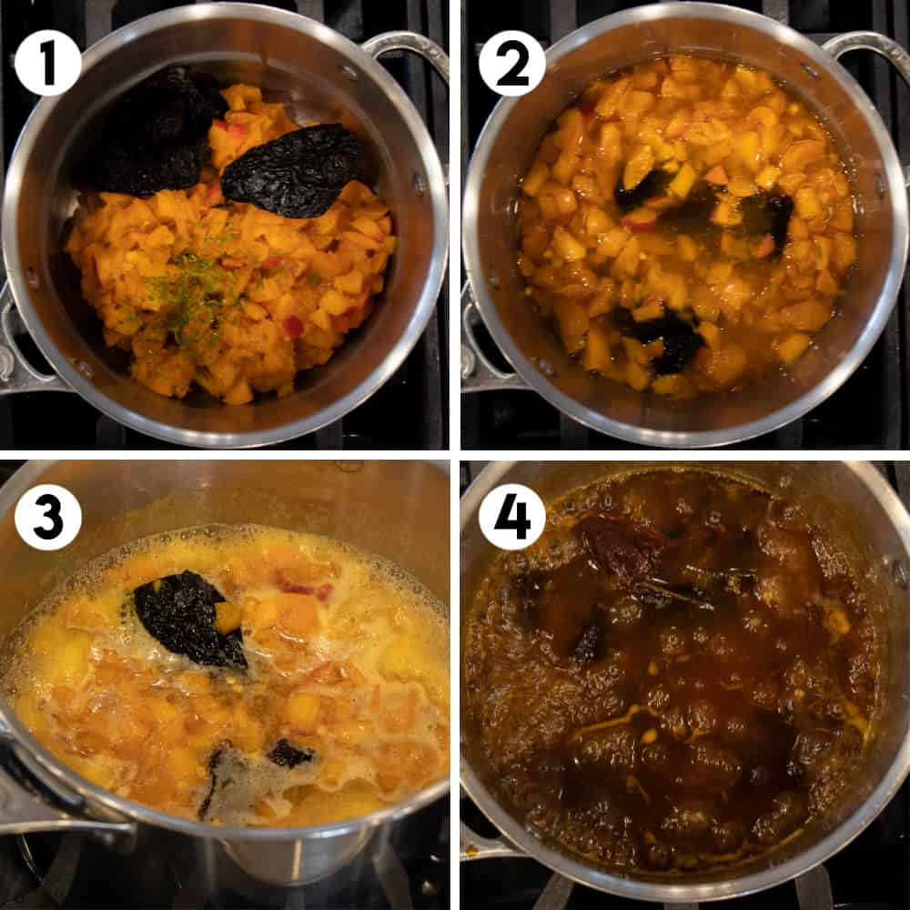 Step by step photos with pot of simmering sauce.