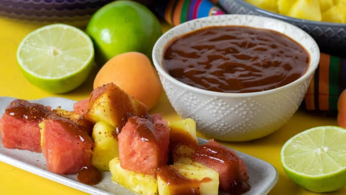 A bowl of Mexican Chamoy fruit sauce homemade with apricots, lime juice and more.