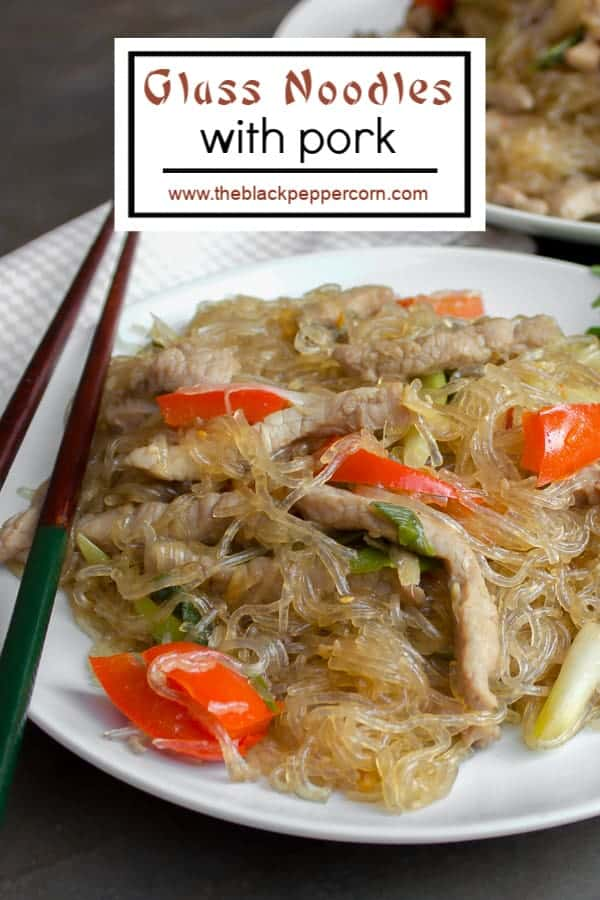 A recipe for an Asian inspired dish with pork, red peppers and green onions/scallions and glass noodles. Also known as crystal noodles, cellophane noodles or Chinese noodles, these are made with bean or peas.