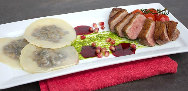 Duck Breast and Cognac Duxelle Wonton Ravioli with Pomegranate Cognac Sauce and Basil Pesto