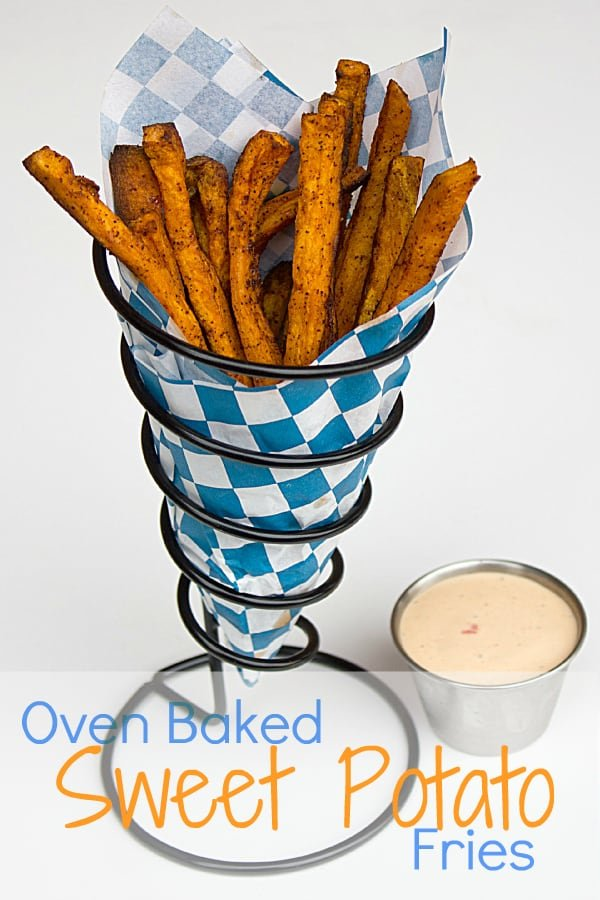 Sweet Potato Fries Recipe. Easy instructions for how to make homemade sweet potato fries in the oven. Spicy sriracha ranch for dipping.