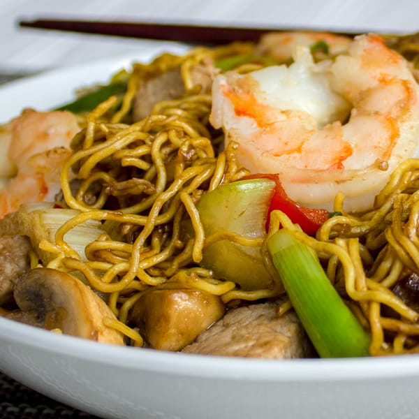 Shrimp and Pork Chow Mein Recipe - Easy to make classic Chinese stir fried noodles. This chow mein has pork and shrimp along with peppers, celery, green onions and more.