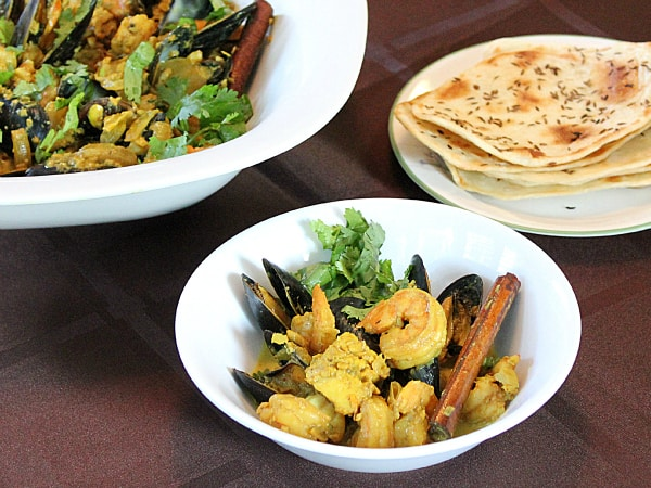 ... Tikka Masala , Chana Masala , Indian flatbread and seafood curry