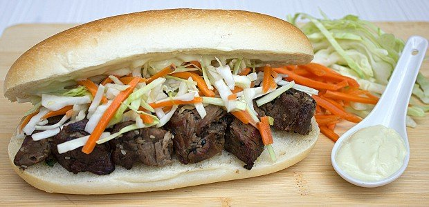 Sesame Beef Sandwich with Asian Slaw and Wasabi Mayo