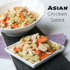 Asian chicken salad recipe including Chinese lettuce (nappa), green onions, chicken, carrots and peanuts with an Asian vinaigrette made with sesame oil, soy sauce, rice vinegar and more.