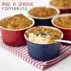Easy recipe for single serving macaroni and cheese in personal ramekins. Simple how to make recipe for homemade mac and cheese with buttery crumble topping!