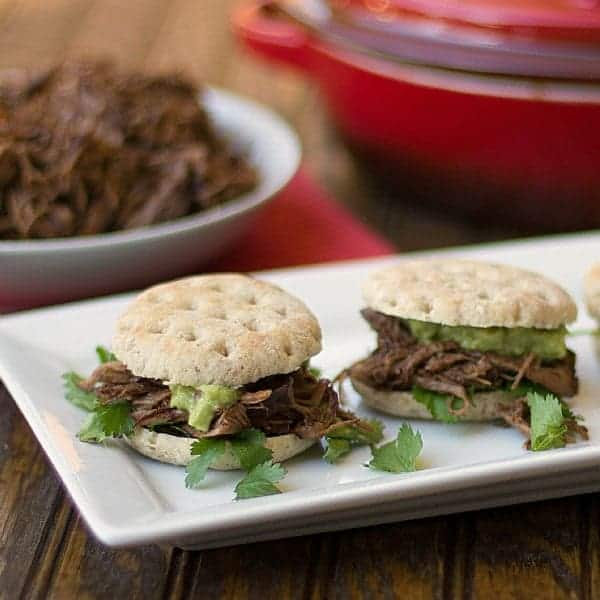 Ancho Shredded Beef and Guacamole Sliders