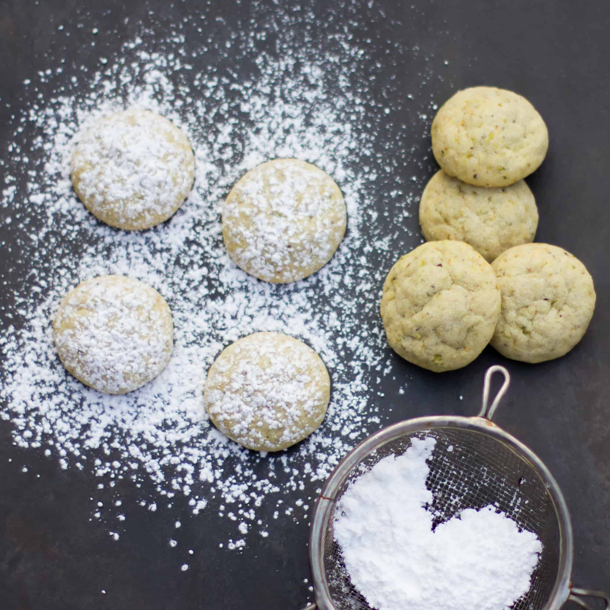 Similar to Mexican wedding cookies, these are light, crumbly and melt in your mouth. The pistachios give the cookie a nutty flavour and a light green colour and the cardamom provides a mild spicy flavour.