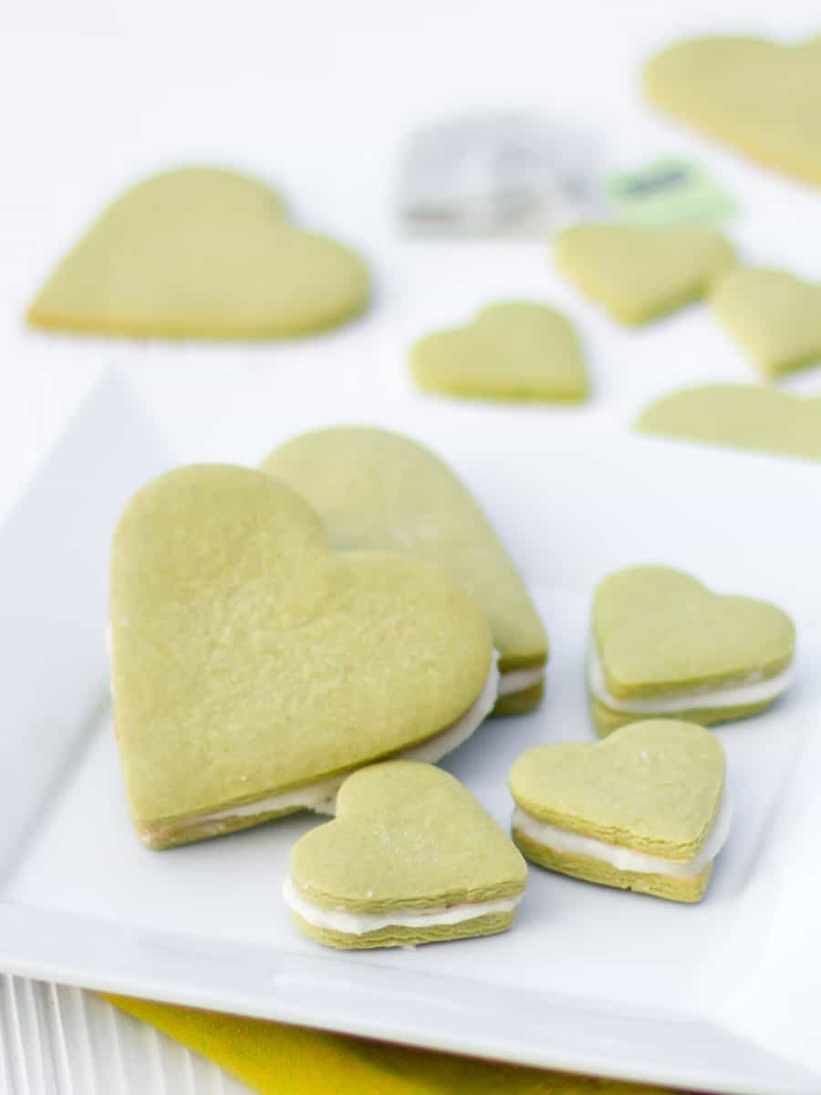 A tall image of heart shaped sugar cookies