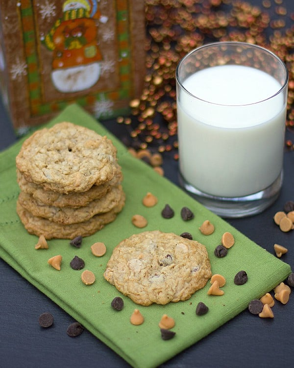 triple chip oatmeal cookies tall