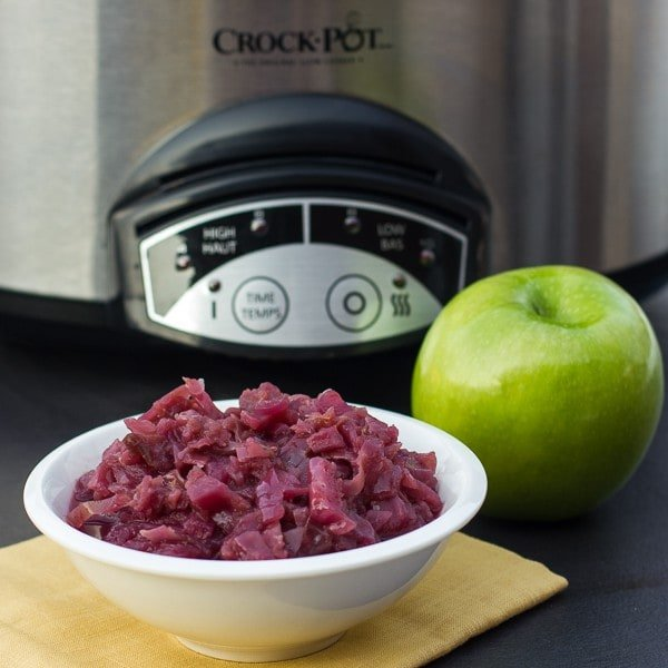 Red Cabbage and Apples in the slow cooker crock pot sq1