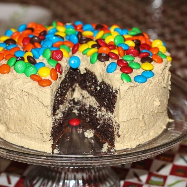 M&M Chocolate Peanut Butter Layer Cake