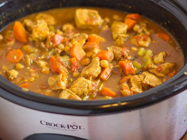crock pot chicken tagine in the pot
