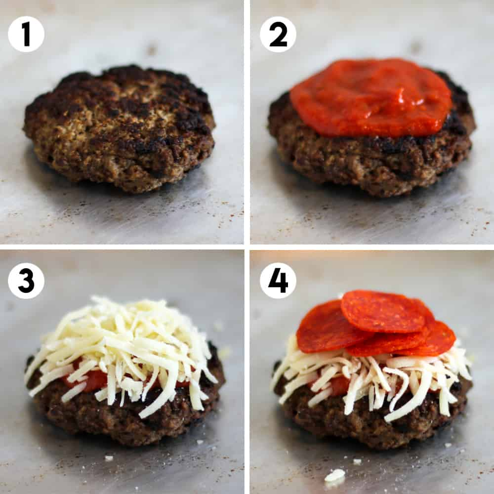 four stage process to assemble the toppings on the burger