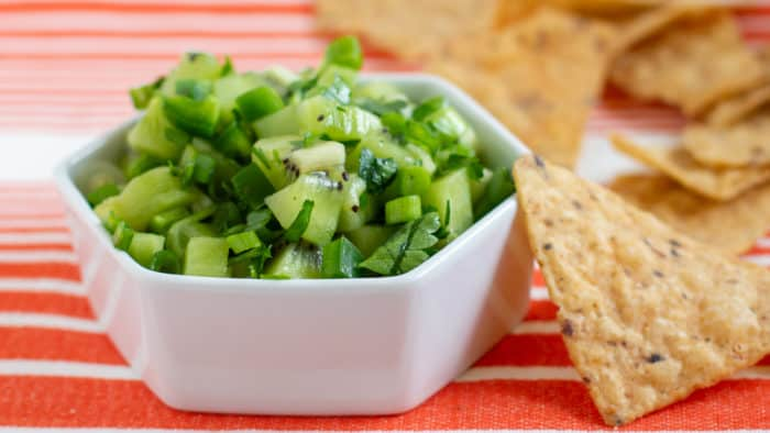 This fresh and fruity salsa is perfect for any occasion. Green kiwifruit provide a tartness while the jalapeno pepper gives the salsa a nice spicy kick!