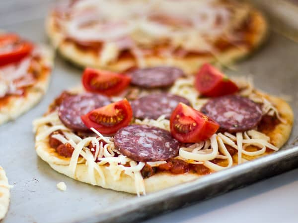 naan pizza salami buffalo mozzarella and basil 4x3