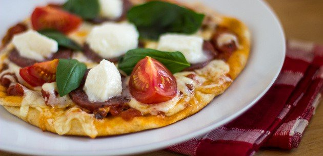 Naan Pizza with Salami and Buffalo Mozzarella