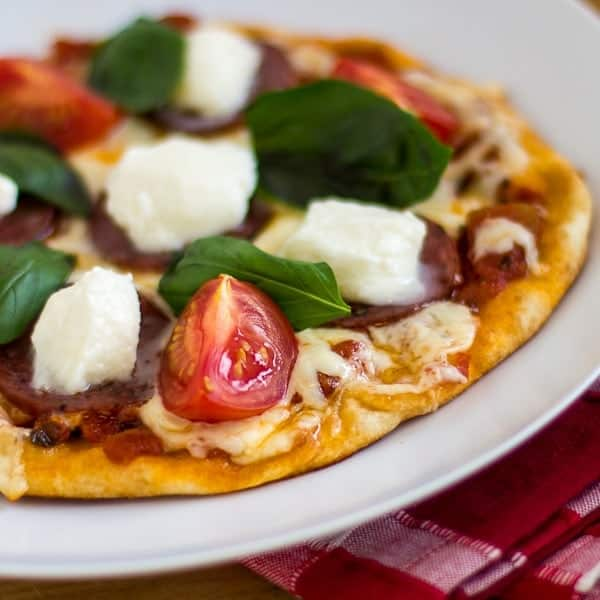 naan pizza salami buffalo mozzarella and basil sq1-2