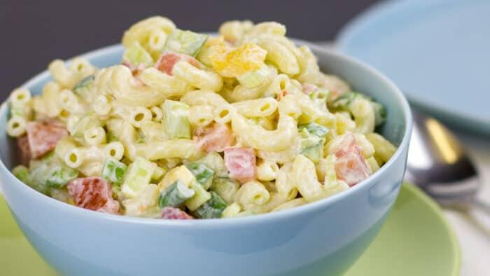 A bowl of pasta salad.